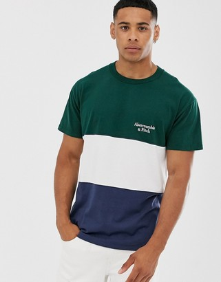 Abercrombie & Fitch color block small logo t-shirt in green/white/navy-Multi