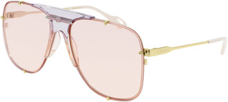 Gucci Oversized Aviator-Style Nylon Sunglasses