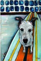 Parvez Taj Dog On Surfboard Art Print on Canvas