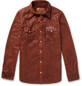 Jean Shop Slim-fit Leather Western Shirt - Tan
