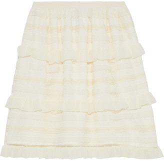 RED Valentino Point D'esprit, Georgette And Lace Mini Skirt