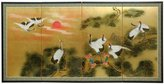 Oriental Furniture Asian Art, Decor and Gifts, 36 by 72-Inch Sunset Cranes Chinese Gold Leaf Wall Screen Painting
