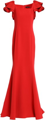 Badgley Mischka Ruffle-trimmed Crepe Gown