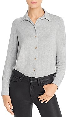Three Dots Refined Jersey Knit Button-Down Top