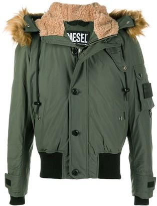 Diesel Faux Fur-Trimmed Padded Jacket