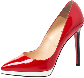 Christian Louboutin Cherry Red/White Patent Leather Decollete Platform Pointed Toe Pumps Size 36.5