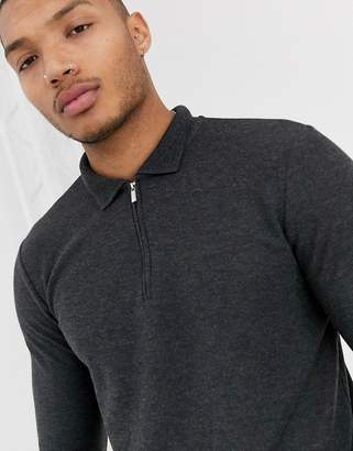 Topman long sleeve polo in grey
