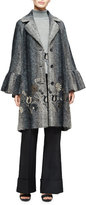 Co Flared-Cuff Floral-Embroidered Coat, Brown