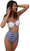 Relaxlama Women's Striped High Waist Pin Up Bikini Set