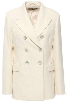 ALEXACHUNG Double-breasted Frayed Cotton-blend Boucle-tweed Blazer