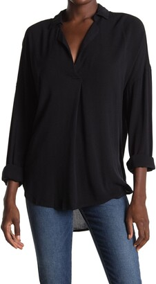 ALL IN FAVOR Notch Collar Tunic Blouse