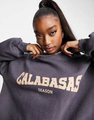 Public Desire oversized sweatshirt with Calabasas slogan co-ord in grey blue