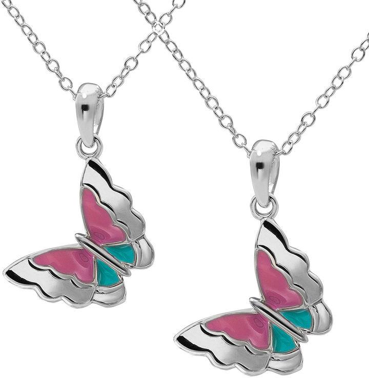Hallmark Kids Sterling Silver 2-pr. Enamel Butterfly Pendant Necklaces