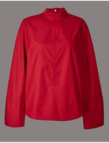 Autograph Pure Cotton Poplin Long Sleeve Shell Top