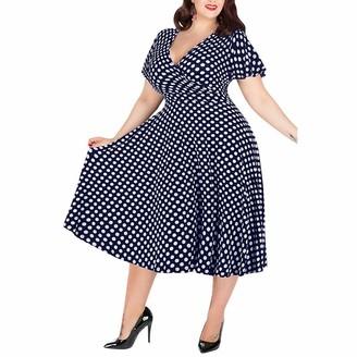 Kalorywee Dresses Dresses Plus Size Women Casual Cold Shoulder Short Sleeve Boho Floral Printed Split Long Maxi Dress (UK 12