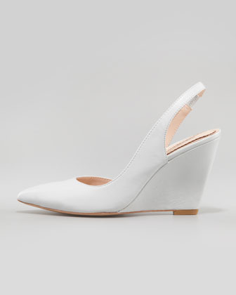 Pour La Victoire Maira Point-Toe Slingback Wedge, Light Gray