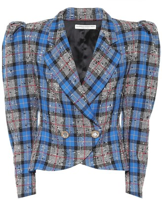 Alessandra Rich Wool-blend tartan jacket
