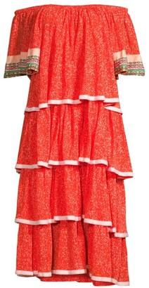 Pitusa Boho Embroidered Trim Tiered Ruffle Dress