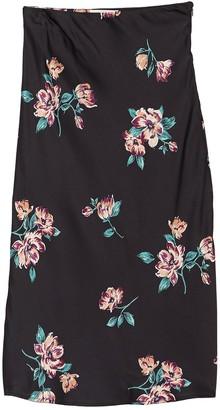 June & Hudson Floral Print Satin Skirt