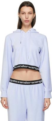 alexanderwang.t Blue Corduroy Cropped Hoodie