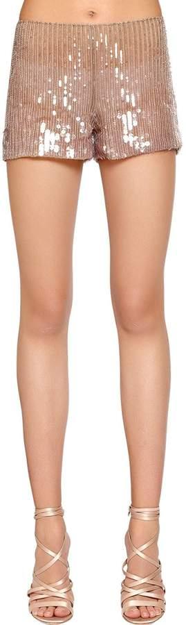 Alberta Ferretti Beaded & Sequined Tulle Shorts