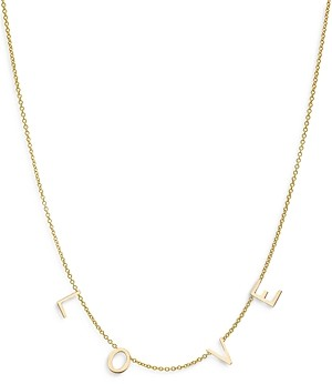 Zoe Lev 14K Yellow Gold Love Chain Statement Necklace, 16-18