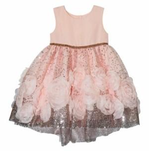 Blueberi Boulevard Little Girls Rosette Sequin Dress