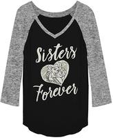 Fifth Sun Frozen Black & Heather Gray 'Sisters Forever' Raglan Tee - Women