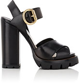 Prada Women's Lug-Sole Leather Platform Sandals-BLACK
