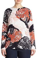 Basler, Plus Size Coral Printed Knit Tunic Sweater