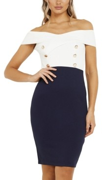Quiz Two-Tone Off the Shoulder Buttoned Dress