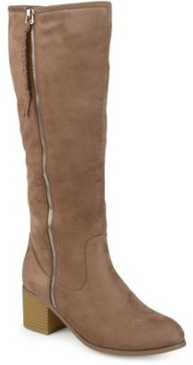 Brinley Co. Womens Faux Suede Mid-calf Stacked Wood Heel Boots