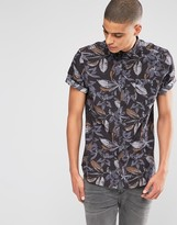 Asos Shirt With Floral Print In Short Sleeve In Regular Fit
