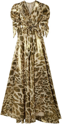 Naeem Khan Wrap-effect Leopard-print Lame Gown