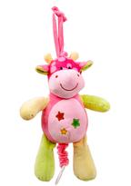 Pink Star Print Baby Giraffe Pull-String Toy