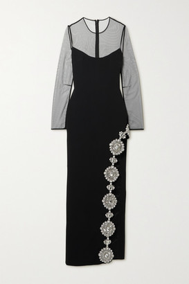 David Koma Crystal-embellished Mesh-paneled Stretch-cady Gown - Black