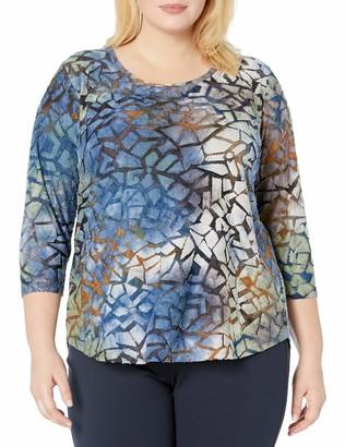 Karen Kane Women's TIE-DYE Burnout Shirttail TEE Large