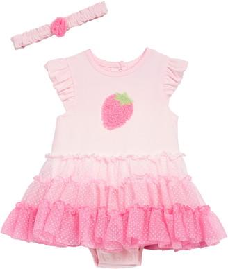 Little Me Strawberry Tutu Popover Bodysuit & Headband Set