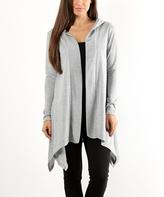 Light Gray & Silver Metallic Hooded Cardigan
