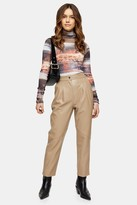 Topshop Womens Petite Brown Pu Peg Trousers - Beige