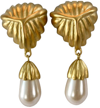 One Kings Lane Vintage Givenchy Matte Gold & Pearl Earrings - Wisteria Antiques Etc
