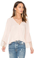 Eight Sixty Wrap Front Bell Sleeve Lace Top in Blush. - size M (also in )