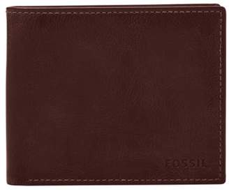 Fossil Derrick Rfid Large Coin Pocket Bifold Wallets Black Cherry