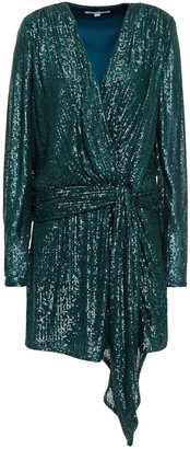Jonathan Simkhai Wrap-effect Sequined Stretch-tulle Mini Dress