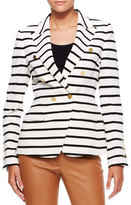 Escada Striped Nautical Blazer, Off White/Black