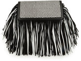 Sam Edelman Fifi Leather Fringe Clutch Bag, Black/White