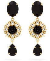 Dolce & Gabbana Crystal-embellished Floral-drop Clip Earrings - Womens - Black