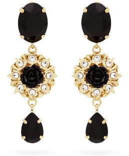 Dolce & Gabbana Crystal-embellished Floral-drop Clip Earrings - Black