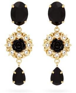 Dolce & Gabbana Crystal-embellished Floral-drop Clip Earrings - Womens - Black