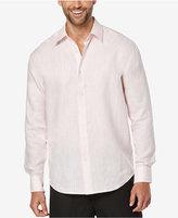 Cubavera Men's 100% Linen Criss-Cross Perforated Chambray Long-Sleeve Shirt